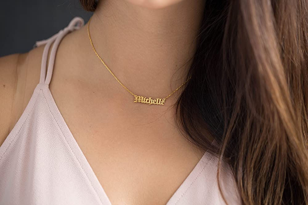 Gold Old English Birthstone Name Necklace Gothic Hipster Jewelry