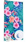 Beach Towel Microfibre with Pouch- for Beach,Travel, Holidays,Hiking - Quick Dry and Lightweight(Large, Tropical Blue)