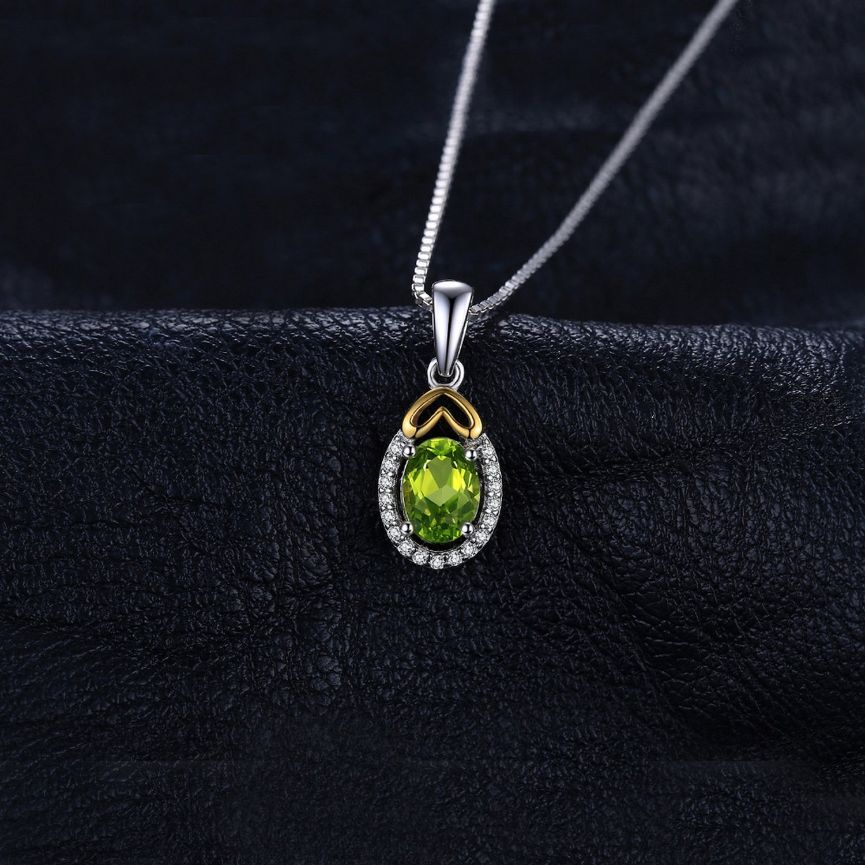 CS-DB Pendants 0.97ct Oval Gemstone Peridot Silver Necklaces