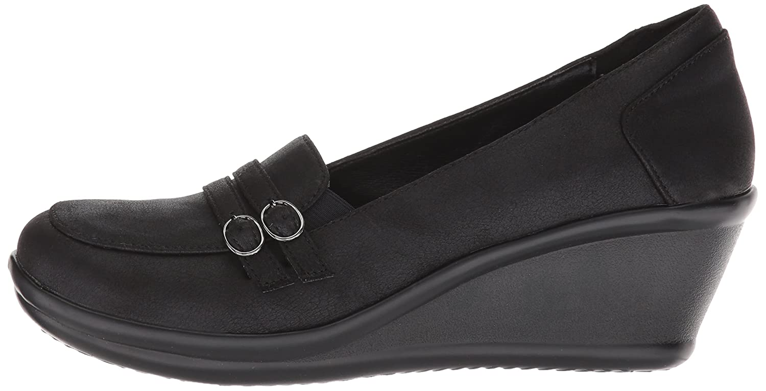 Details about Skechers Women's Rumblers Frilly Wedge Heeled Dressy Casual Double Buckle
