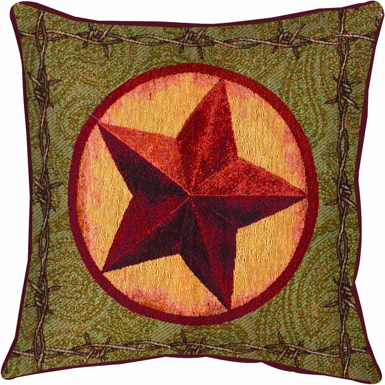 Manual Western D cor Collection Throw Pillow, 17 X 17-Inch, Western Star