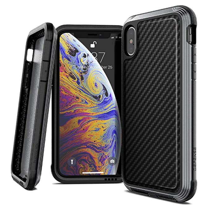 new styles 47178 62b14 iPhone X Case, X-Doria Defense Lux Series - Military Grade Drop Tested,  Anodized Aluminum, TPU, and Polycarbonate Case for Apple iPhone X, [Black  ...