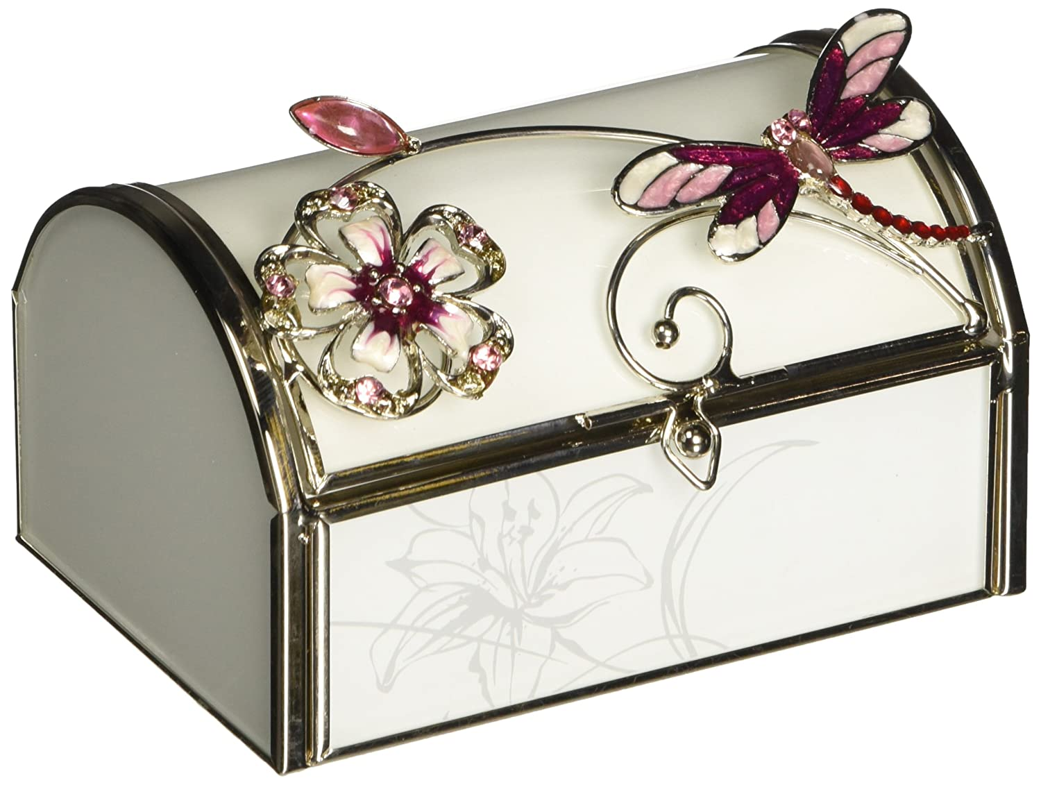 StealStreet SS-A-38140 Jewelry Box Chest with Flaming Red Dragonfly and Jeweled White Flower