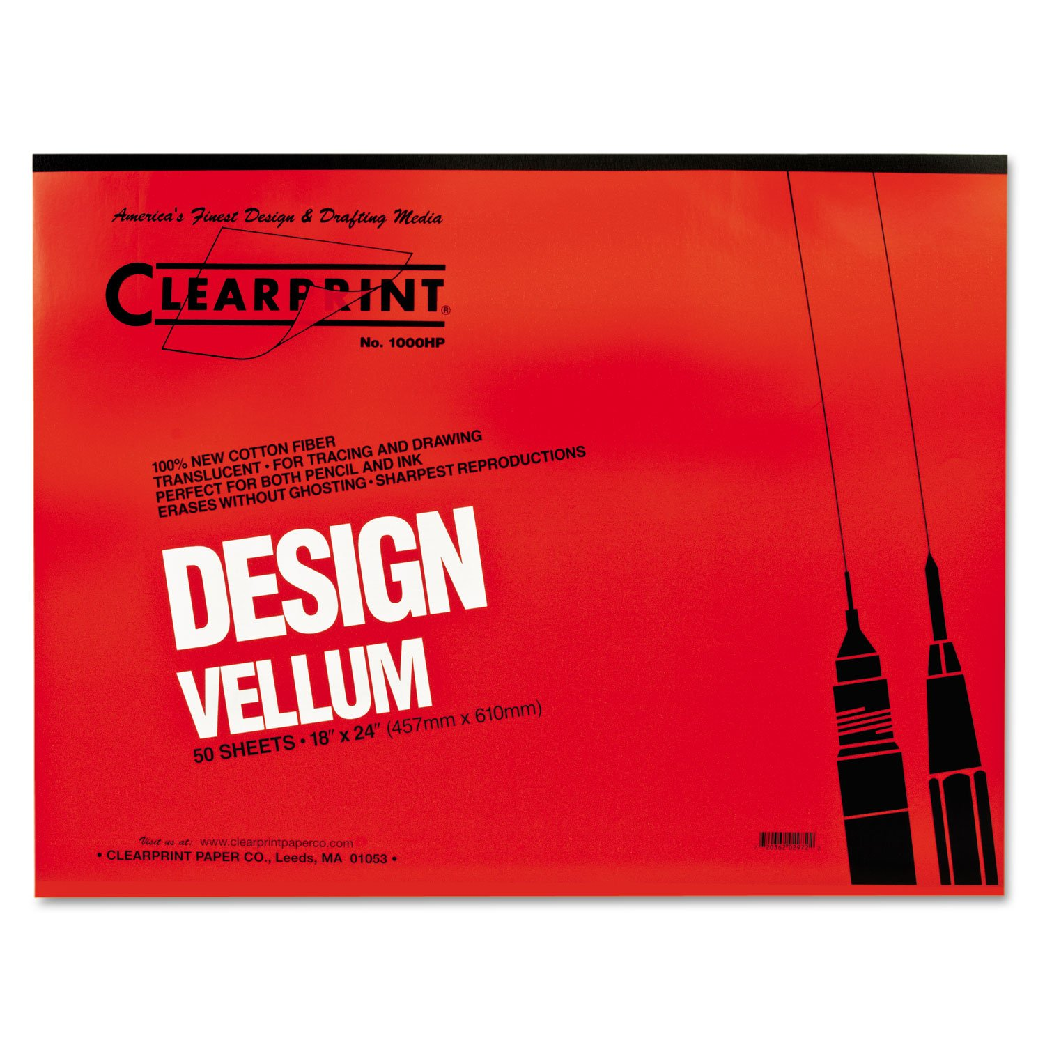 Clearprint 10001422 Design Vellum Paper, 16lb, White, 18 x 24, 50 Sheets/Pad by Clearprint