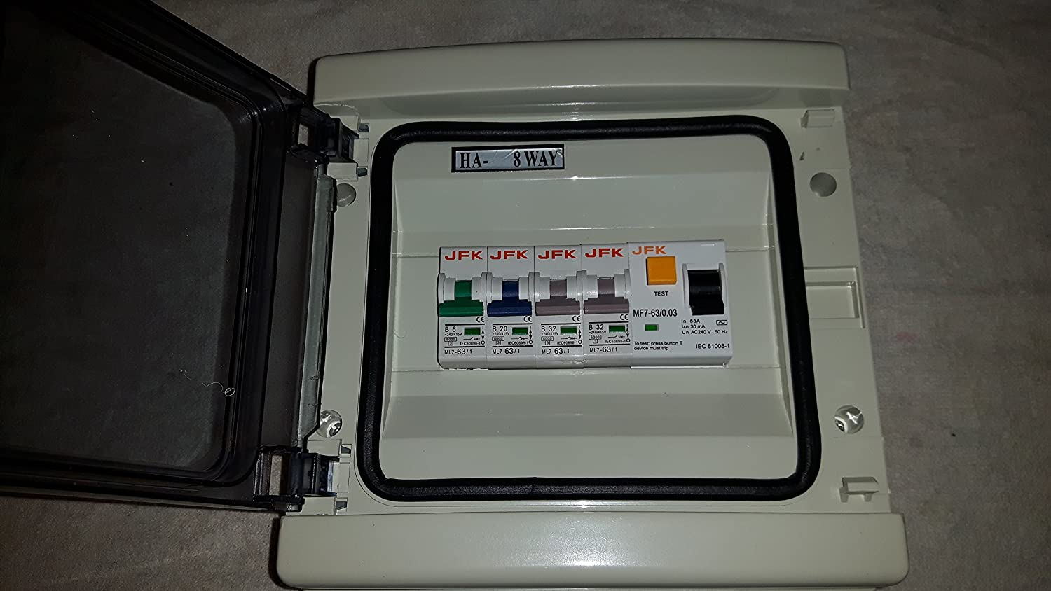 Garage Consumer Unit Ip65 4 Way Fuse Box Fitted With Rcd 63amp 30ma On 1x6amp