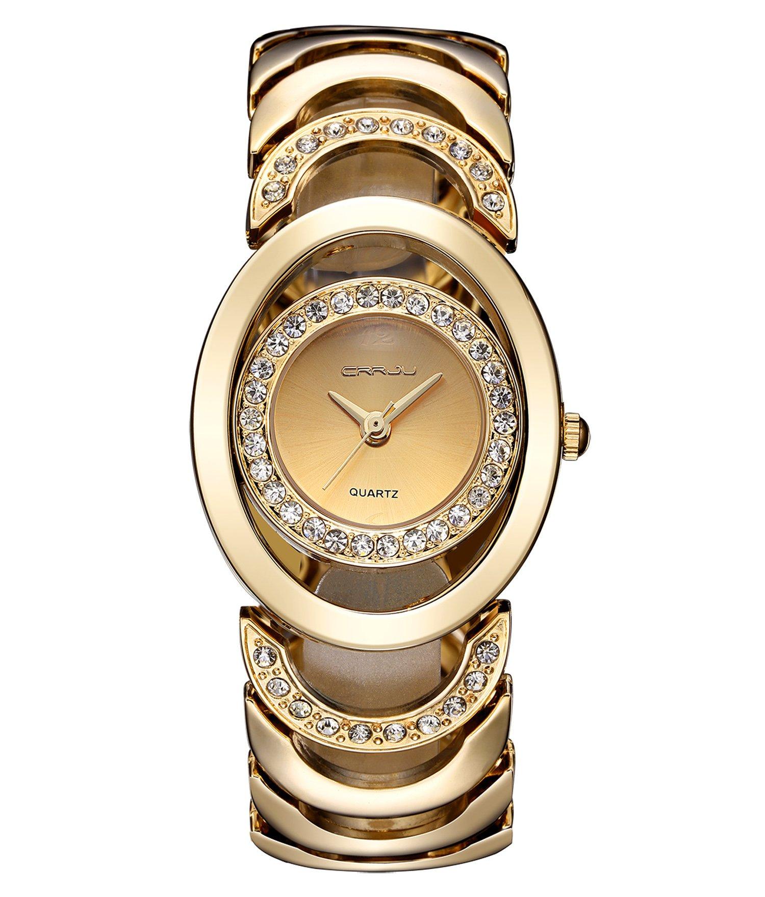 Timewheel Luxury Rhinestone Quartz Watches for Women Gold Stainless Steel Waterproof Bracelet Wristwatch