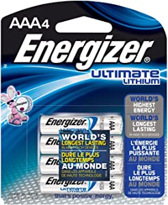 Energizer L92BP-4 Ultimate Lithium AAA Batteries, World's Longest-Lasting AAA Battery in High-Tech Devices (4 Pack)