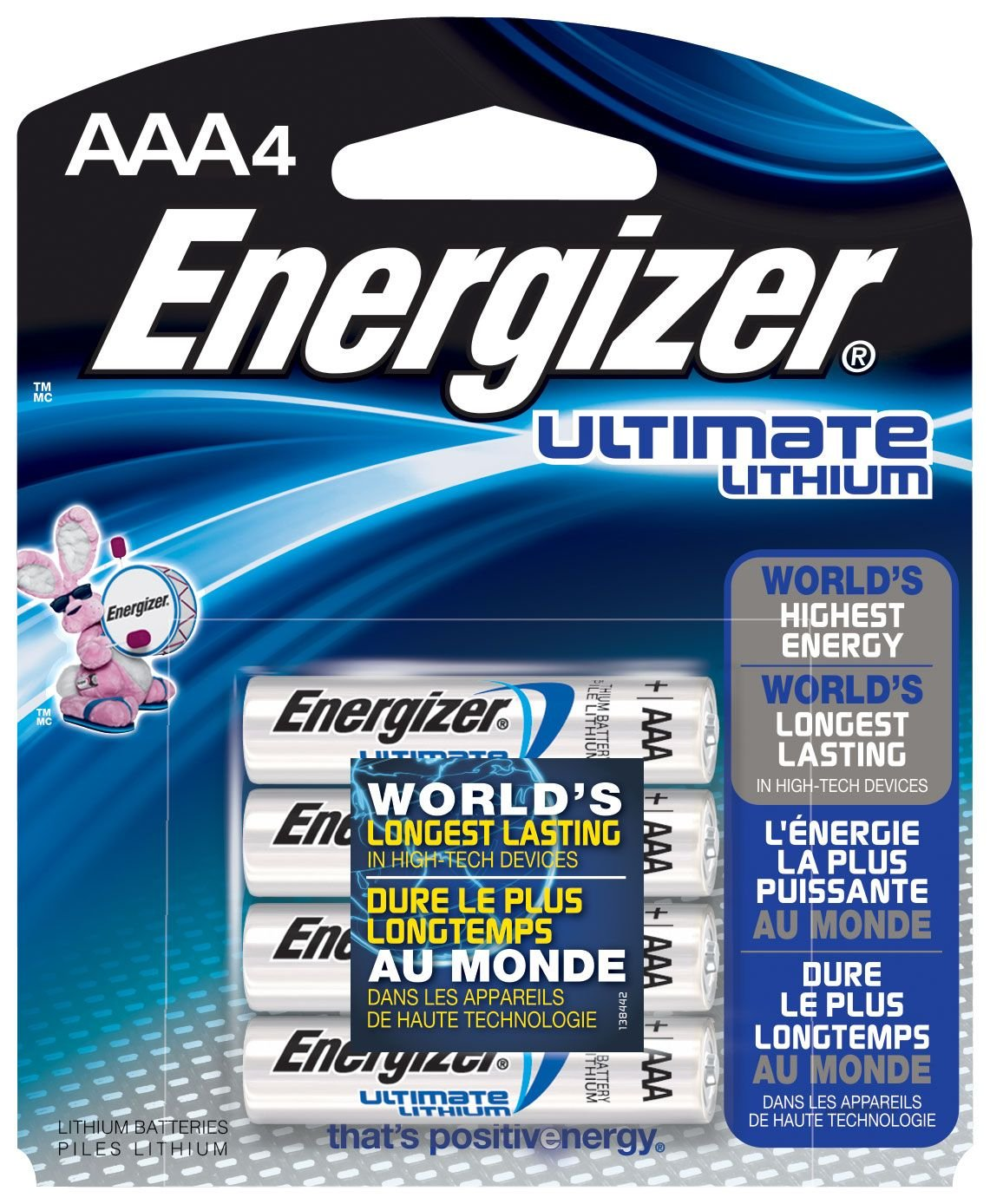 Energizer Ultimate Lithium AAA Batteries, World's Longest-Lasting AAA Battery in High-Tech Devices (4 pack) Technuity L92BP4