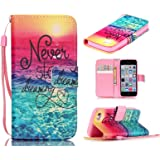 5c Case, iphone 5c Case, ArtMine Never Stop Dreaming Saying PU Leather Flip Folio Style Wristlet Wallet Pouch Phone Case with Wrist Strap & Credit/ID Card Cash Slot for Apple iphone 5c