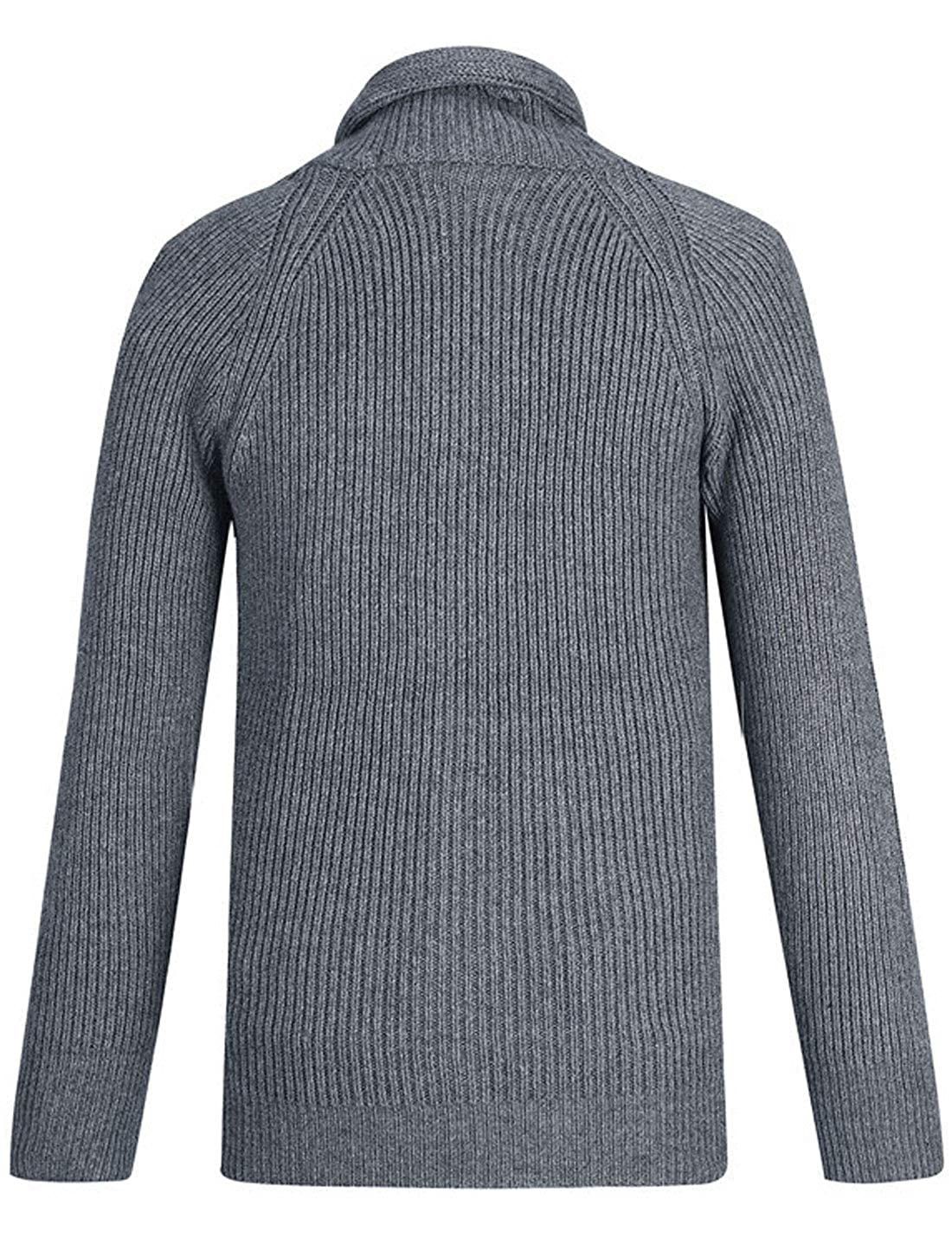 Omoone Mens Button Down Shawl Collar Cable Knit Cardigan Sweater with Pockets