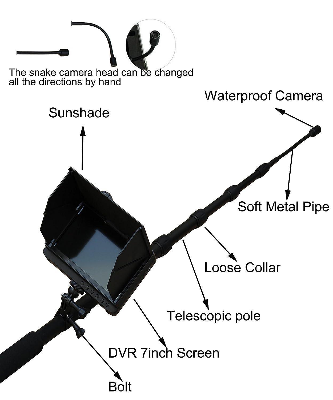 Amazon com : 5m/16 4ft Telescopic Pole Inspection Camera