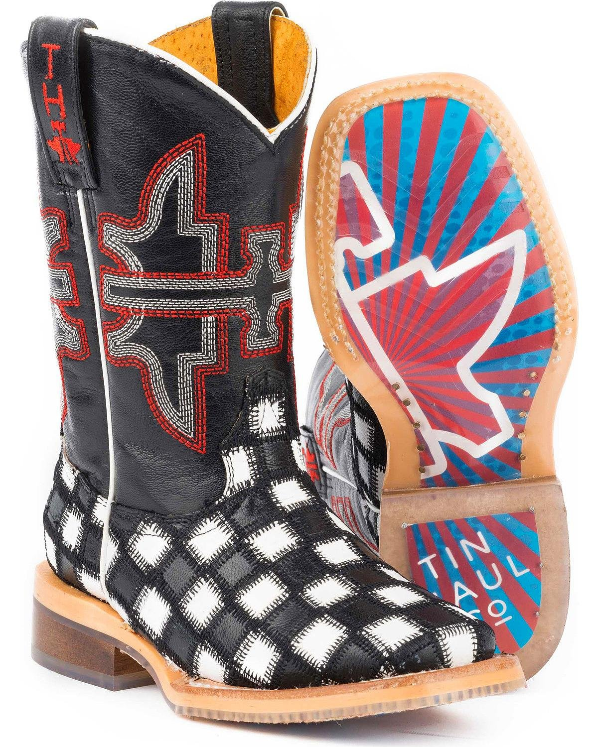 Tin Haul Shoes Boys' Checkmate Western Boot Black 1 Medium US Little Kid