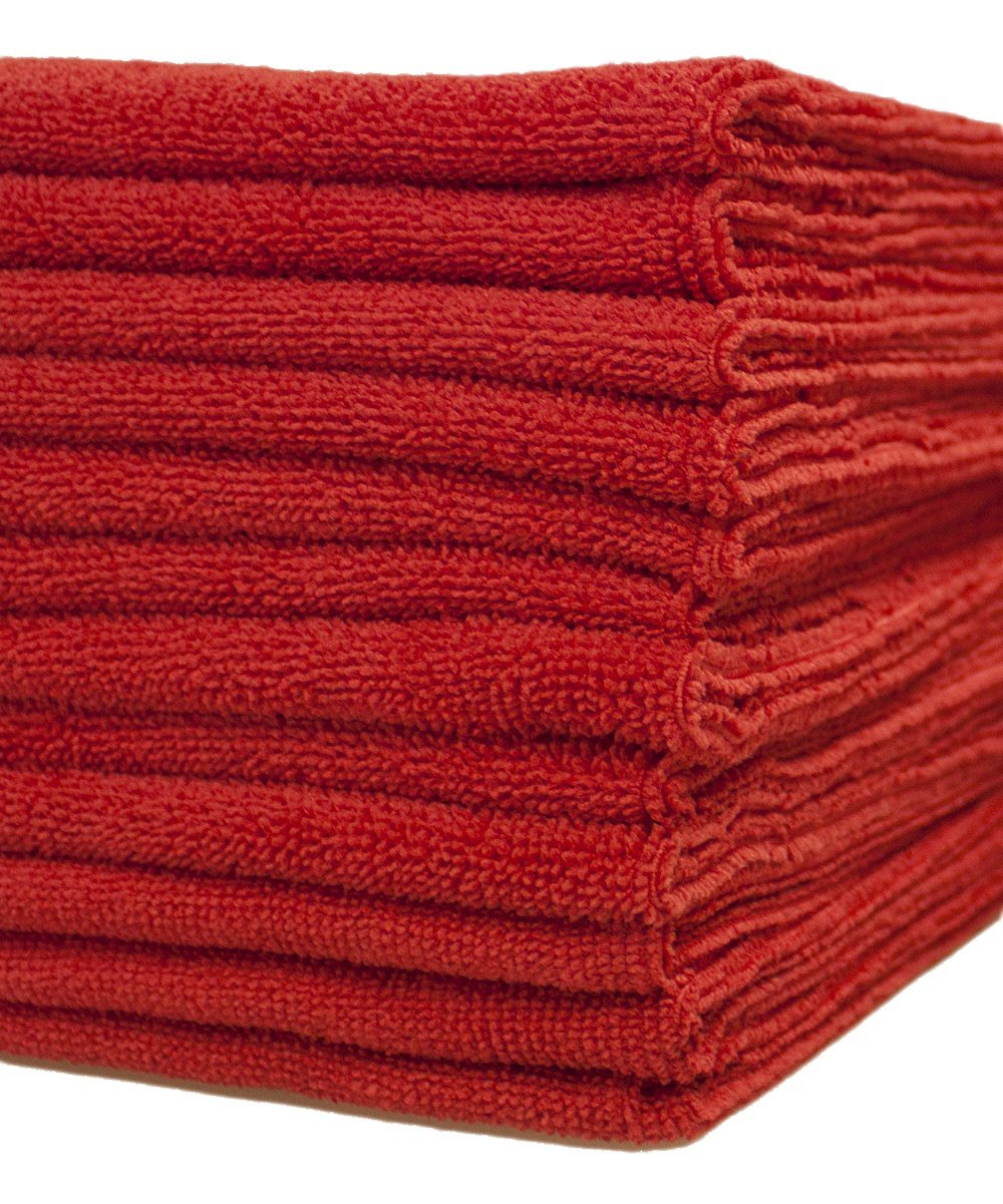 Dri Microfiber Cleaning Cloths 16 in. x 16 in. 24 pack Red