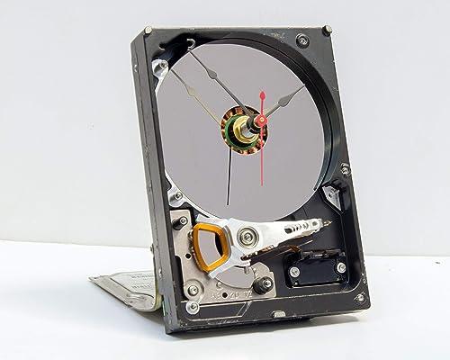 Amazon Com Computer Parts Clock Recycled Computer Hard Drive Clock Computer Geek Gift Steampunk Clock Industrial Design Clock Re Purposed Computer Parts Clock Handmade