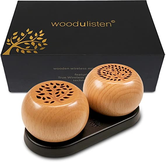 woodulisten Wooden Wireless Mini Bluetooth Speakers - Beautiful Natural Sound - Use 1 Pair 2 True Wireless Stereo (TWS) Technology