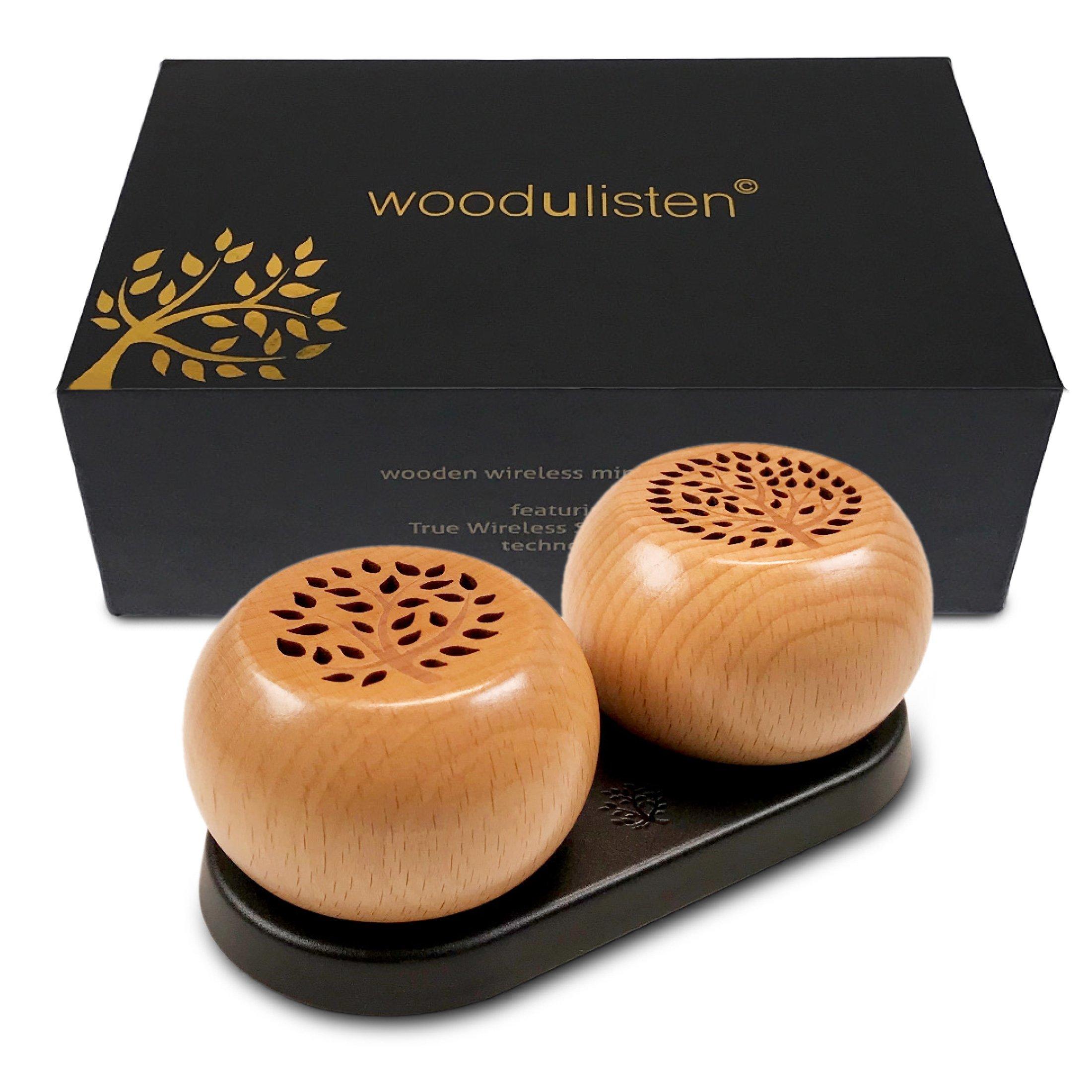 woodulisten Wooden Wireless Mini Bluetooth Speakers -...