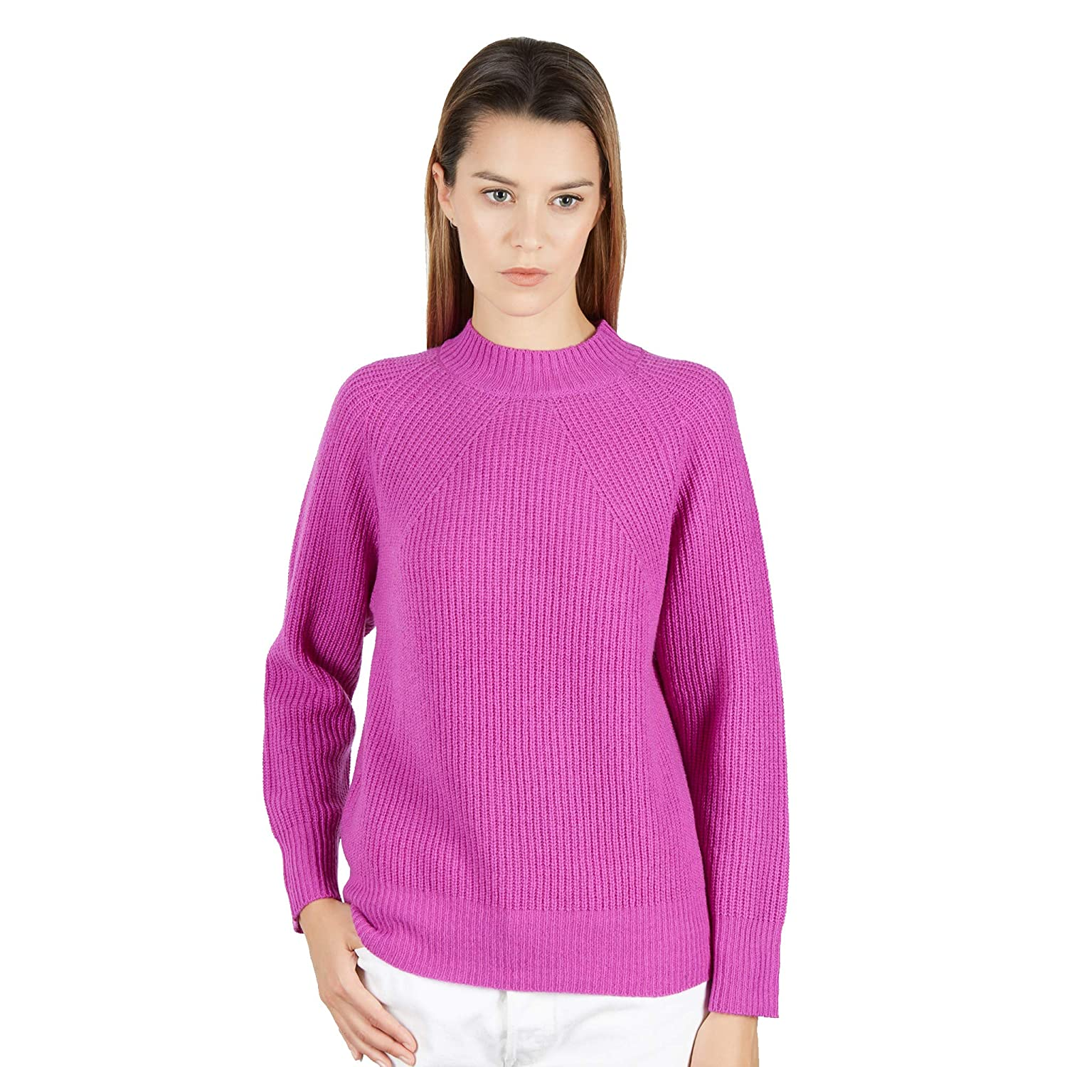 a05982075c9 Pullover Sweater Crew Neck Women in 100% Lambswool Color Lilla    Amazon.co.uk  Clothing