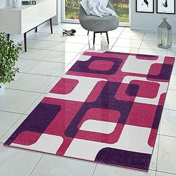 T&T Design Kinderzimmer Teppich Pink Lila Creme Retro Model ...