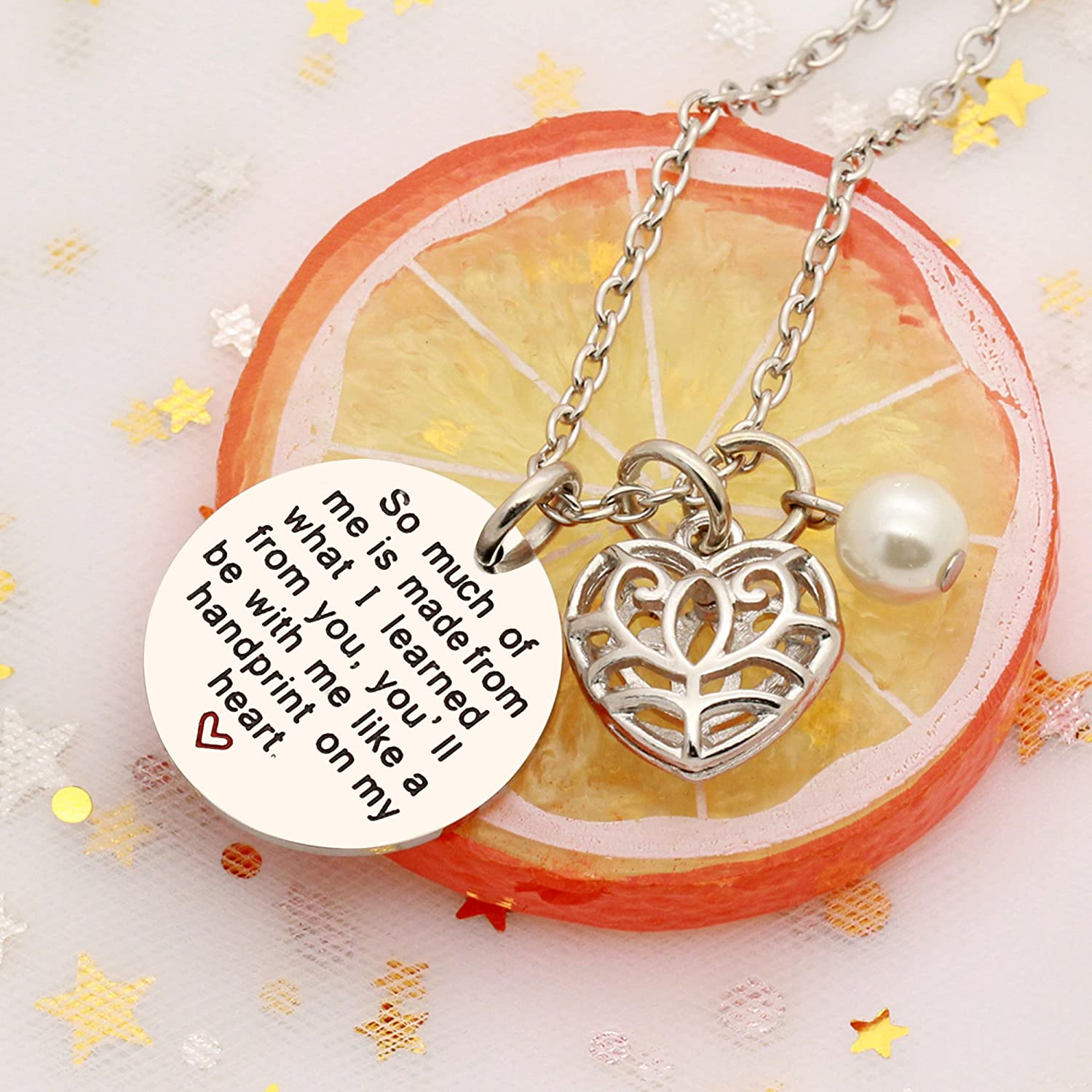 Pendant Necklace Graduation Gifts for Teacher Heart Pearl So Much of Me Learned from You