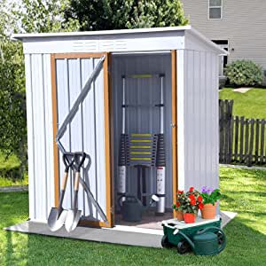 5 x 3 FT Outdoor Storage Shed, Galvanized Metal Garden Shed with Lockable Doors, Tool Storage Shed for Patio Lawn Backyard Trash Cans