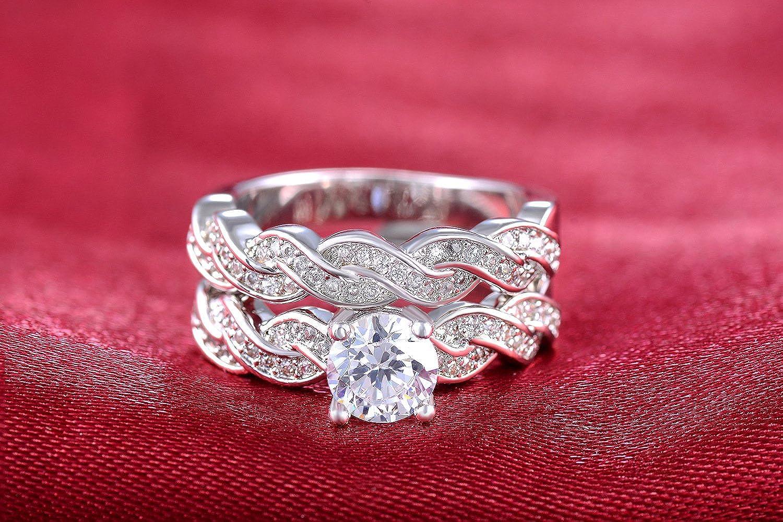 Amazon.com: Superhai Wavy Wedding Band Anniversary Engagement Ring ...