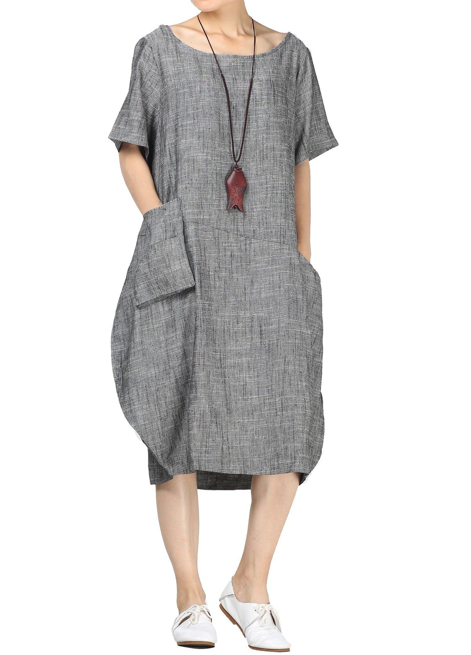 19c343880f Mordenmiss Women s Cocoon Midi Dress Bubble Hem Tunic w Hi-Low Pockets 2XL  Black