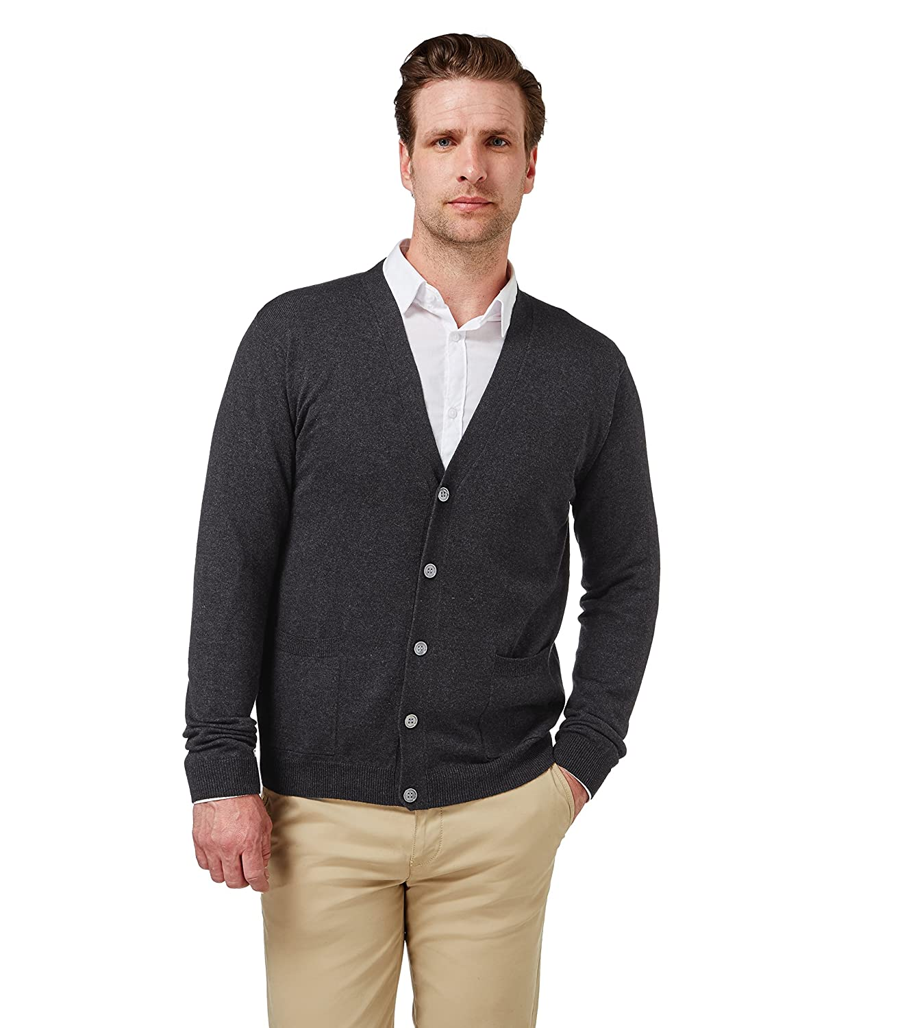 Wool Overs Men's Cashmere & Cotton V Neck Cardigan