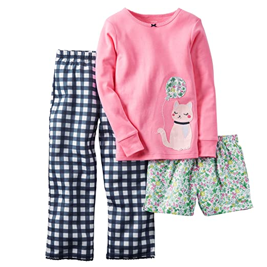 4 Kids Carters Little Girls 3-Piece Jersey PJS