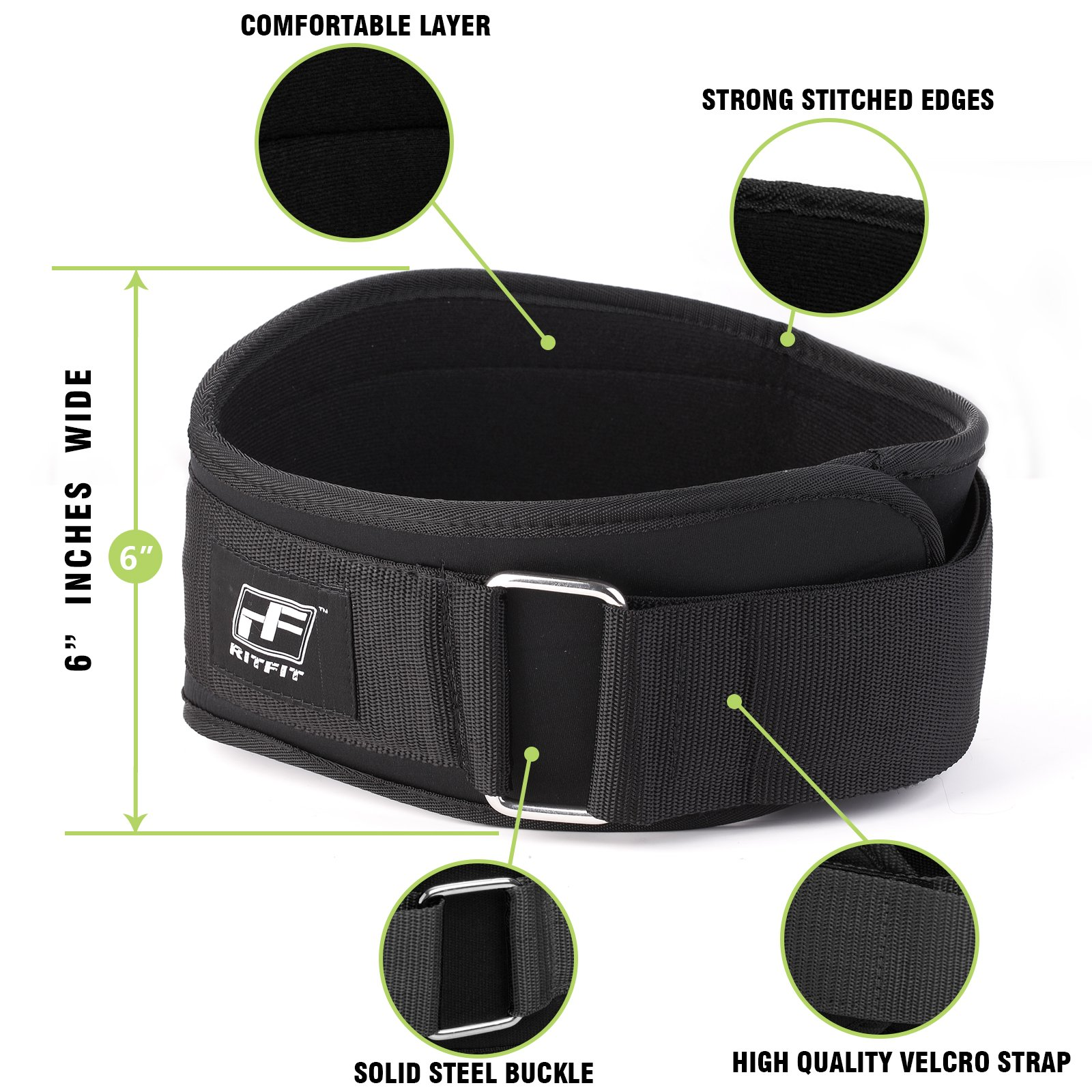 RitFit Weight Lifting Belt - Great for Squats, Clean, Lunges, Deadlift, Thrusters - Men and Women - 6 Inch - Multiple Color Choices - Firm & Comfortable Lumbar Support with Back Injury Protection by RitFit (Image #4)