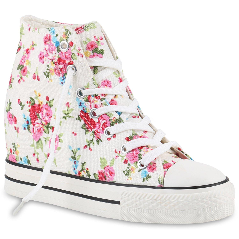 Stiefelparadies Wedges Damen Sneaker Wedges Stiefelparadies Übergrößen Flandell Weißs Blumen 0674ca