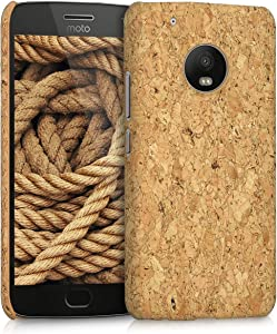 kwmobile Case Compatible with Motorola Moto G5 Plus - Protective Cork Mobile Cell Phone Cover - Light Brown