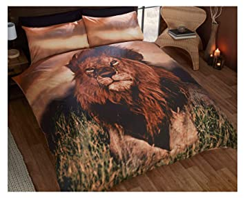 sunset africain plains lion marron double mlange de coton housse de couette douillette