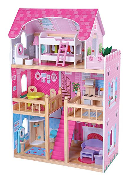 Amazon.com: MMP Living Wooden dollhouse with 16 furniture pieces - 3 ...