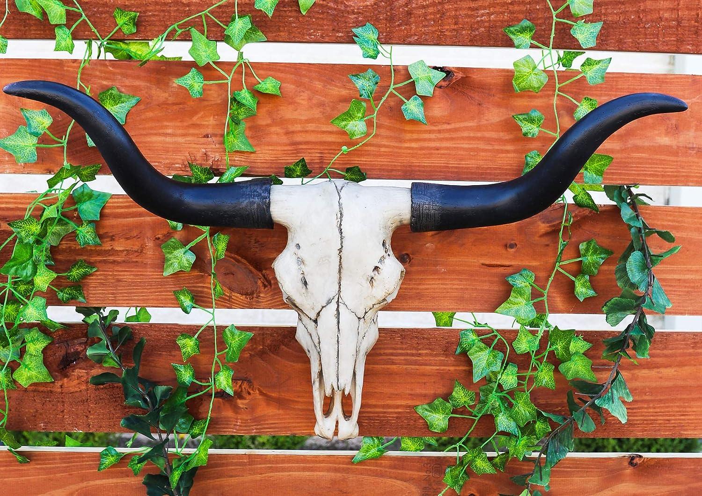 "Atlantic Ebros Gift Large 27"" W Longhorn Cow Skull Wall Head Hanging Sculpture Plaque Bull Steer Wild Beast Figurine Hunters Game Trophy Bulls Cows Steers Grassland Pasture Herding Animal Decor"