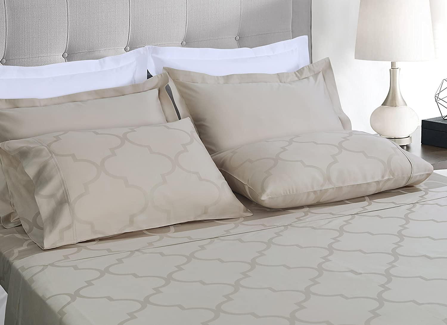 Threadmill Home Linen 300 Thread Count Astra Jacquard Collection 100/% Cotton Sheets 4 Piece Bedsheet Set Luxury Bedding Fits Mattresses up to 18 inch deep Pocket Smooth Sateen King Beige