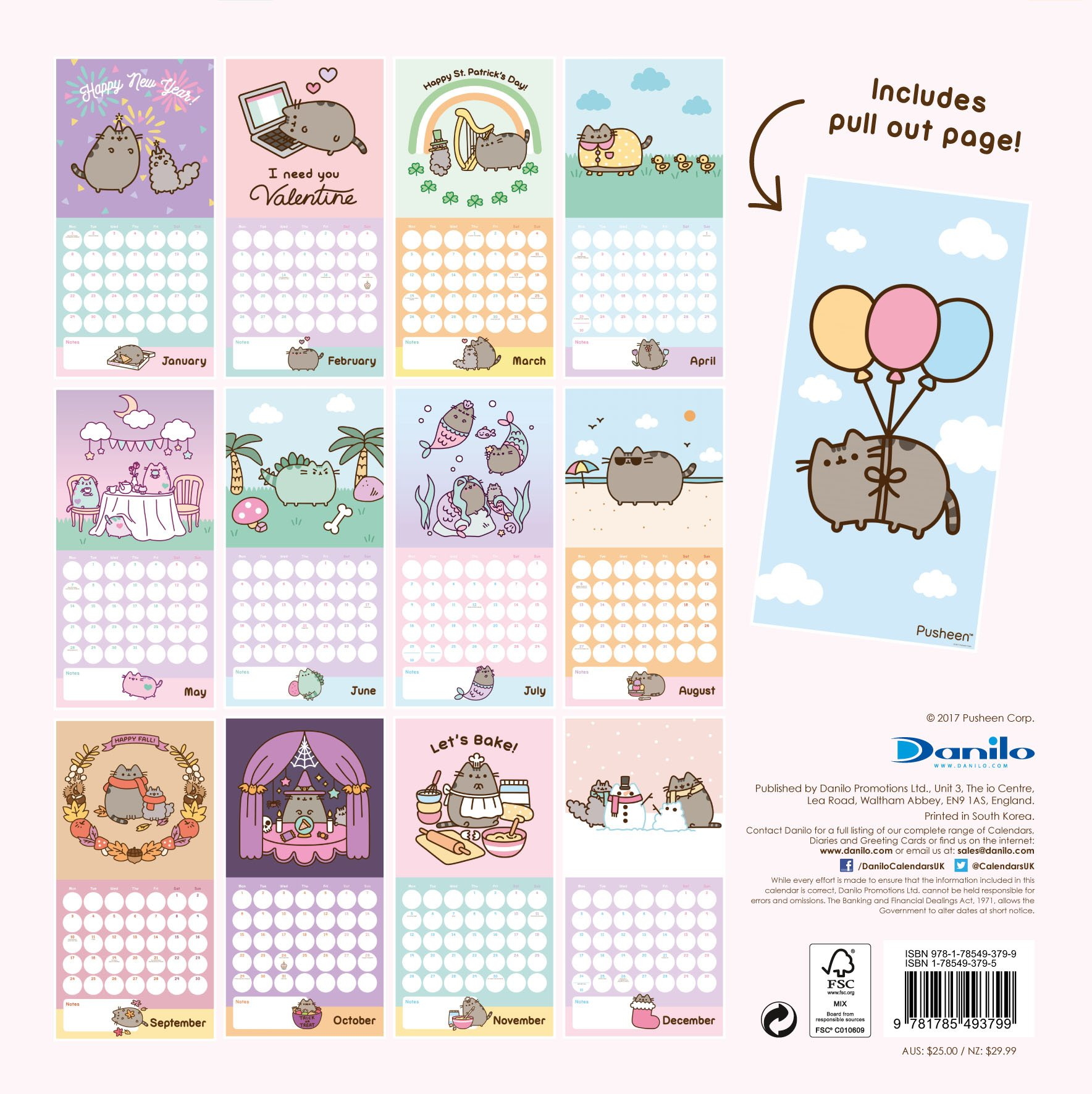 pusheen official 2018 calendar square wall format 9781785493799 amazoncom books
