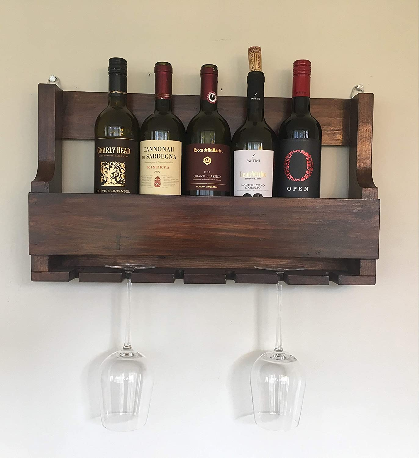 Hand crafted Wine Rack + Wine Glass holder made with Pallet wood