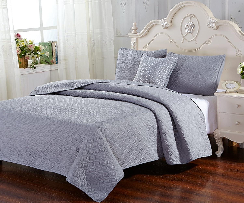 Glory Home Design 4 Piece Verona Quilt Set Queen Blue