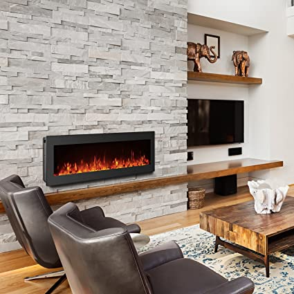 Amazon Com Gmhome 50 Inches Electric Fireplace Wall Mounted