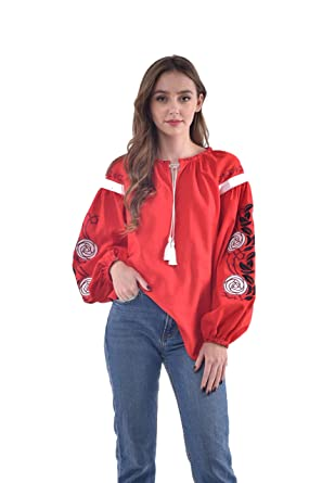 17ee6b2a408e92 2kolyory Embroidered Linen Shirt Woman. Vyshyvanka. Ukrainian Embroidered  Blouse red and White at Amazon Women's Clothing store: