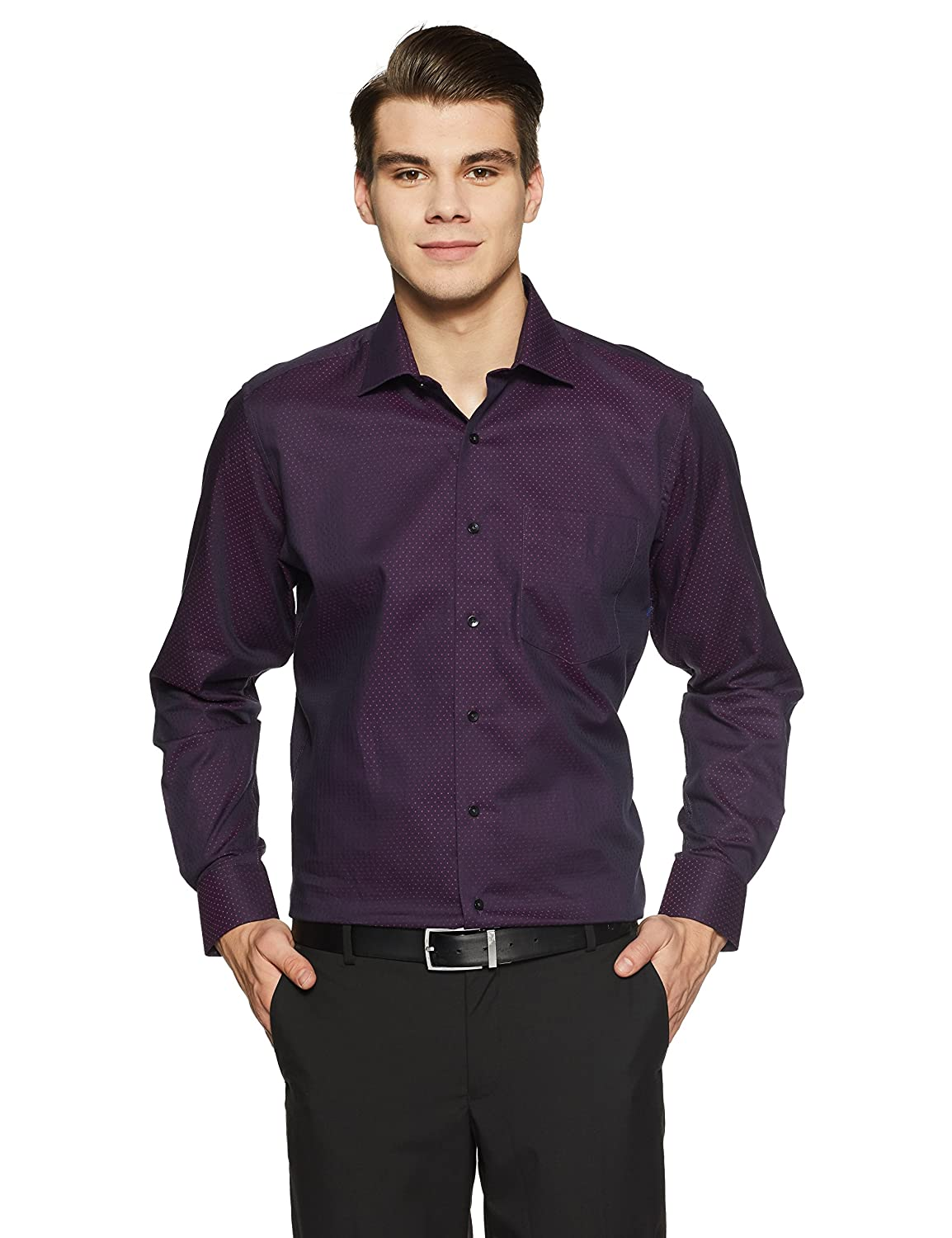 fabe87cc6eb Van Heusen Men s Checkered Slim Fit Formal Shirt  Amazon.in  Clothing    Accessories