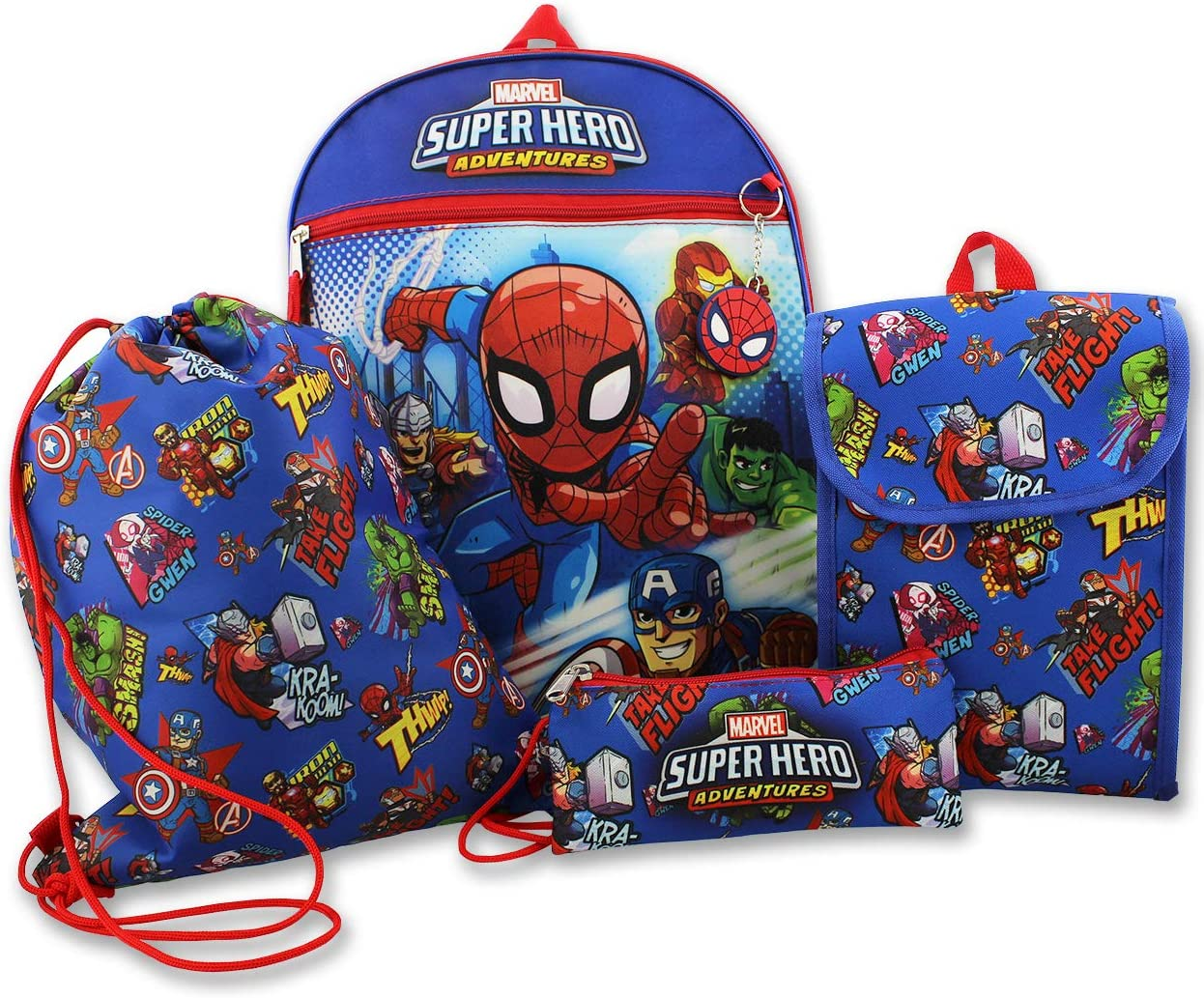 Super Hero Adventures Boys 5 piece Backpack and Snack Bag School Set (One Size, Blue/Red)