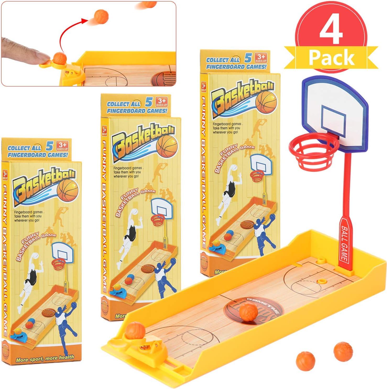 4 Sets Finger Basketball Shooting Game Mini Desktop Table Basketball Game Mini Handheld Sport Basketball Toy with Basketball Court for Funny Sports Novelty Party Favor Gift