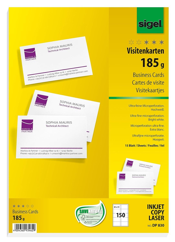 Sigel DP830 150 Tarjetas de visita precortadas, 85 x 55 mm, 185 g ...