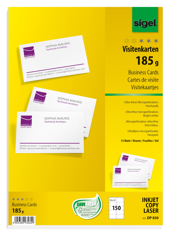 Sigel DP830 150 Tarjetas de visita precortadas, 85 x 55 mm, 185 g /