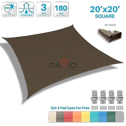 Amazon Com Patio Paradise 20 X 20 Brown Sun Shade Sail Square