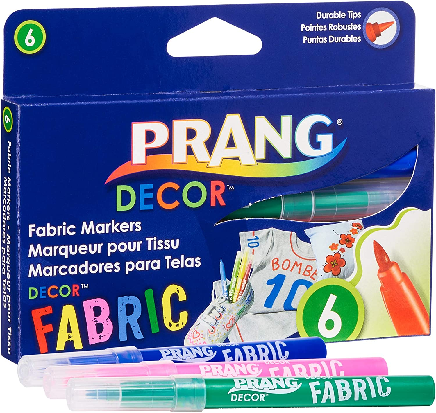 PRANG Decor Fabric Markers, Brush Tips, Permanent Ink, Non-Toxic, 6-Color Set (74106)