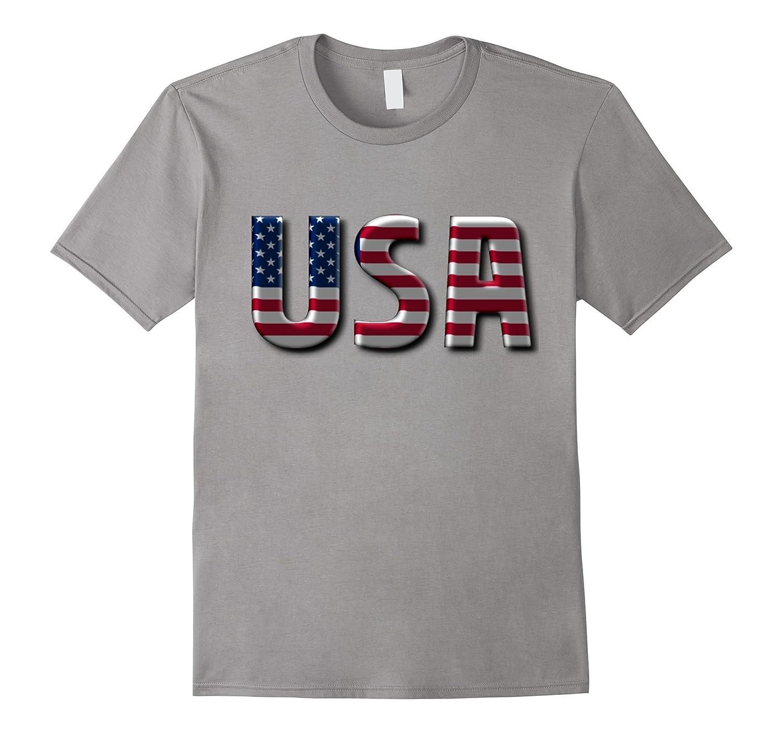 USA - American Flag Letters Patriotic Souvenir Tourist Tee-TD