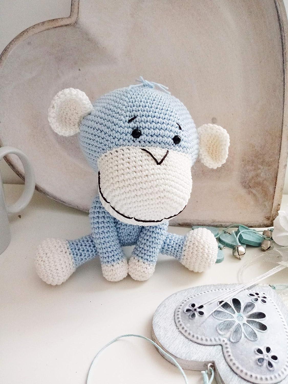 ErnestoJr _kleine gehäkelte Affe. Geschenk für Kinder und Babys. Sammelgeschenk. anpassbare Puppe mit Herz
