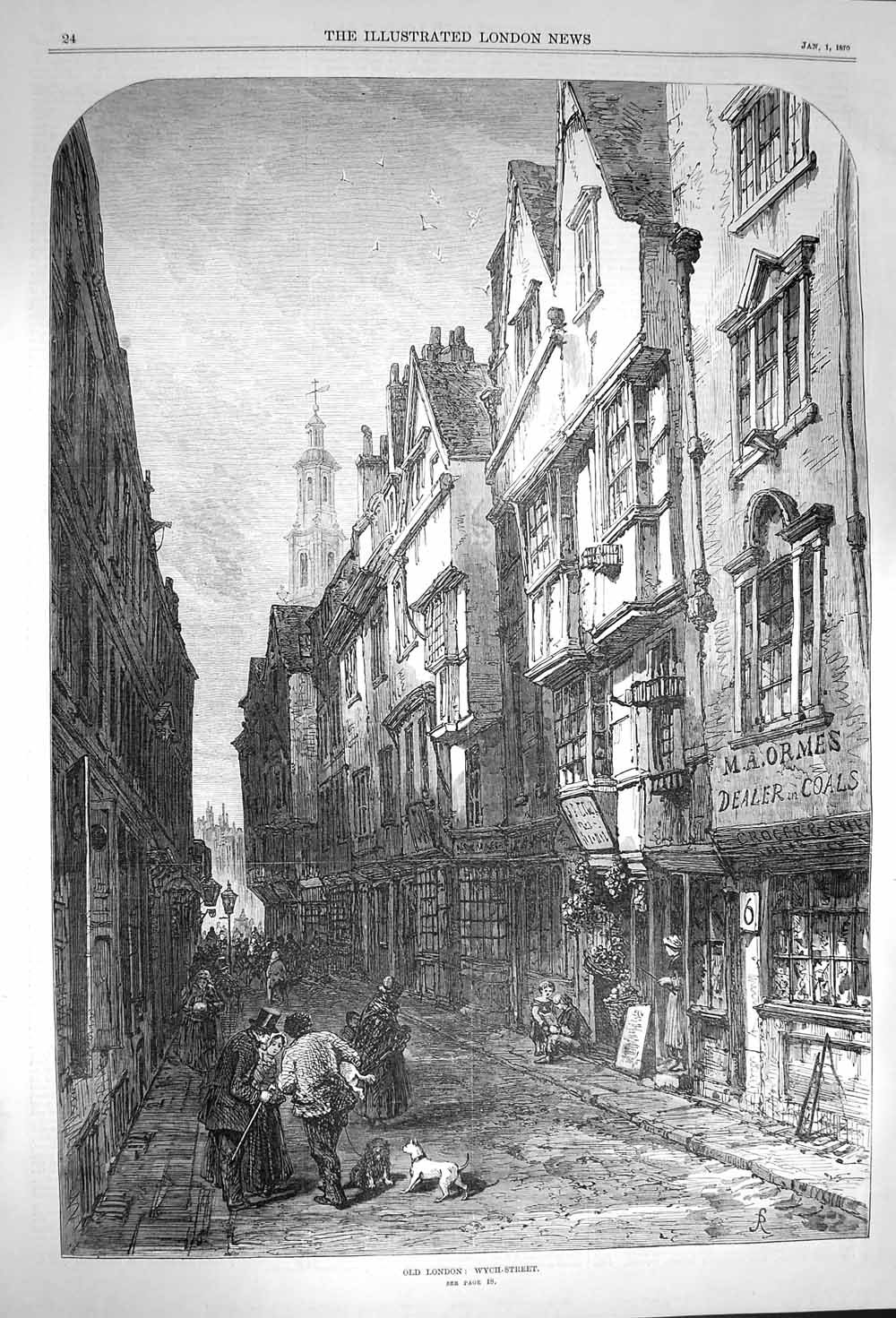 Old Antique Print 1870 Fine Art View London Wych Street Shops 024P156 old-print P1560870024